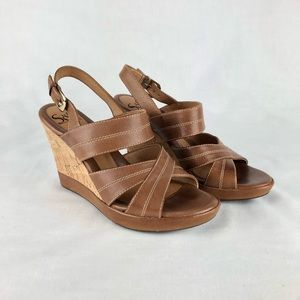 Sofft Brown Leather Strappy Cork Wedge Heel